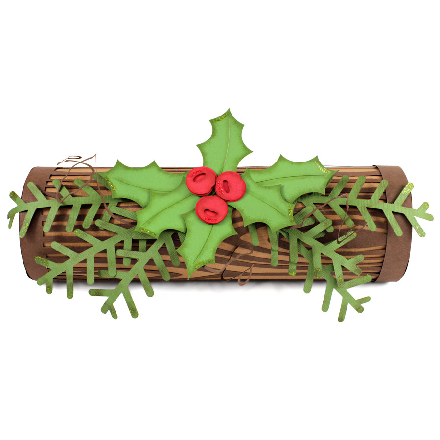 Yule Log And Winter Page Using Woodgrain Overlay Pazzles