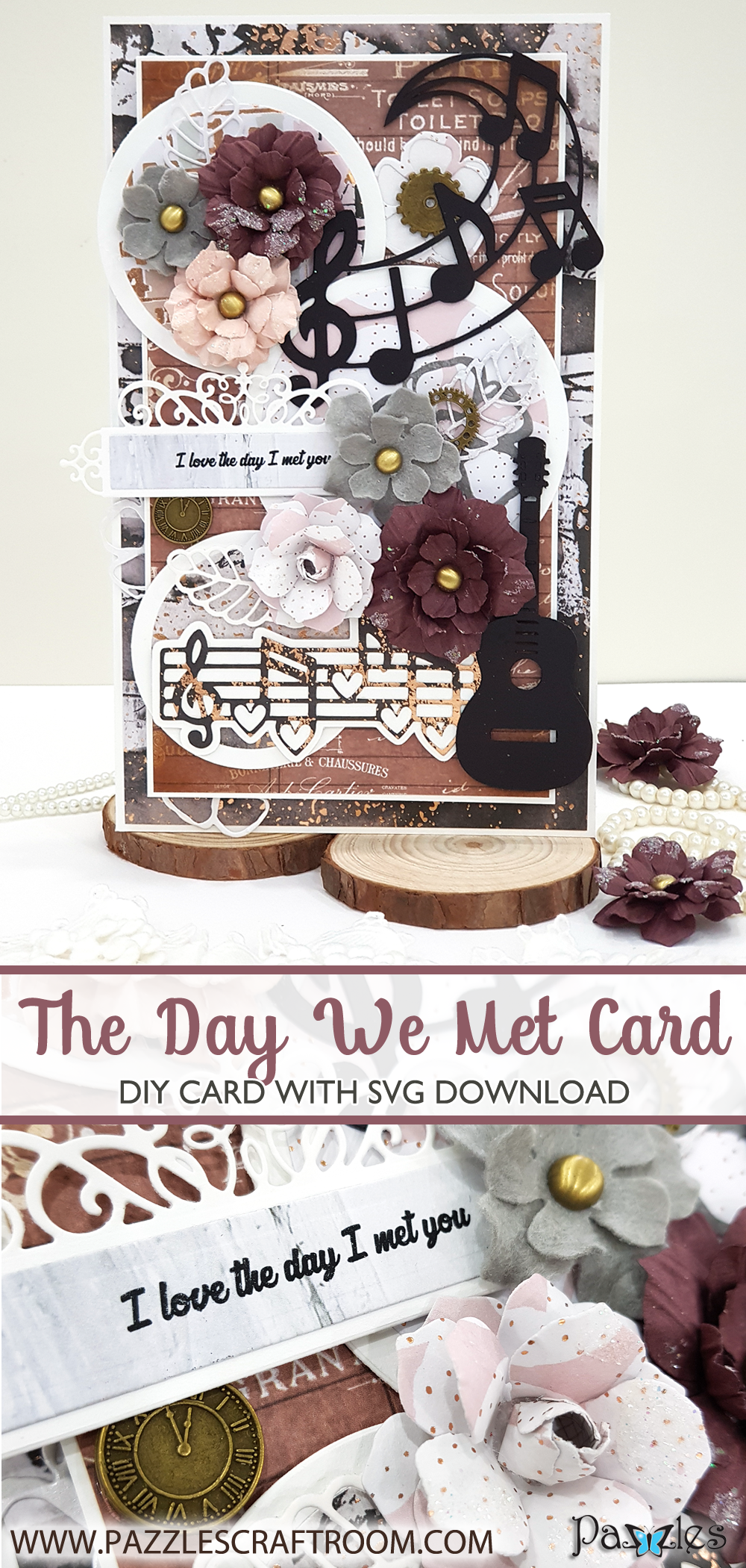 Pazzles DIY Music Love Handmade Card with instant SVG download. Compatible with all major electronic cutters including Pazzles Inspiration, Cricut, and Silhouette Cameo. Design by Nida Tanweer.