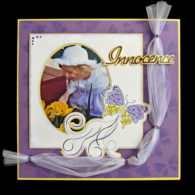 Innocence Scrapbook Page with Stencil Butterflies SQR
