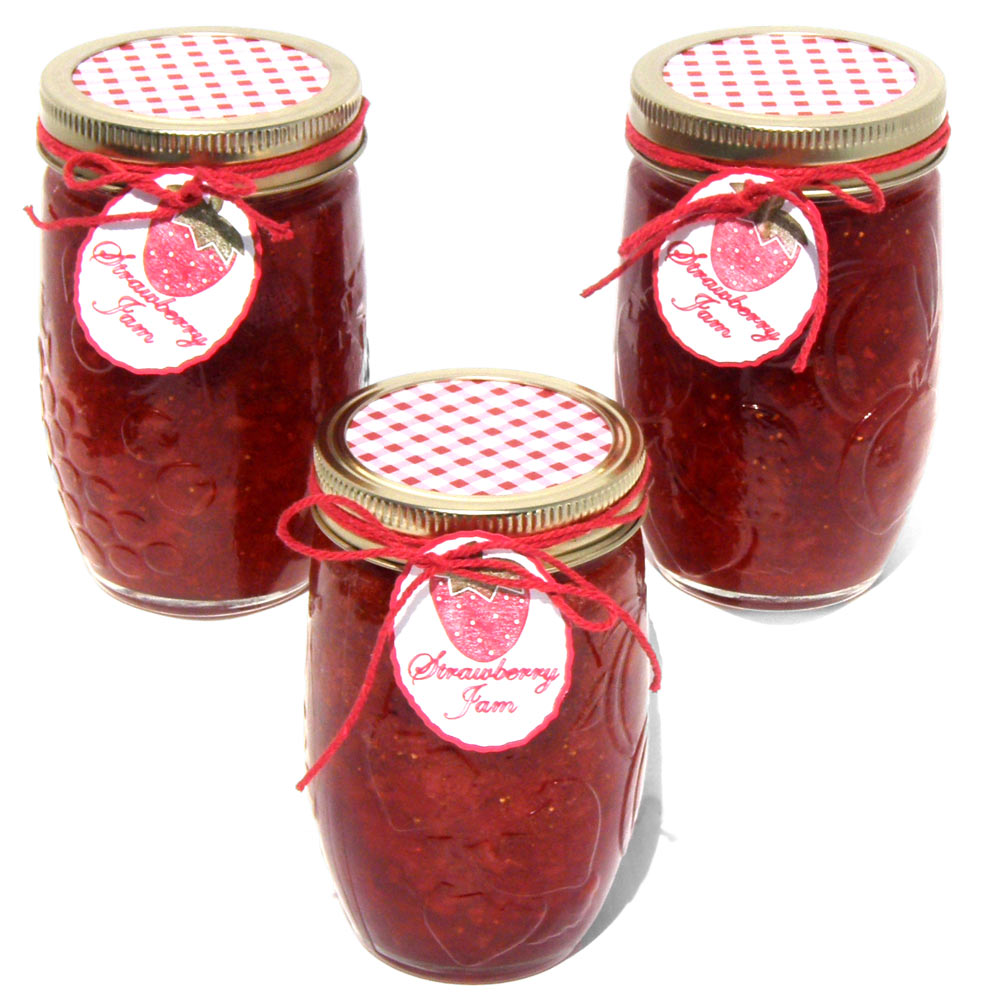 Strawberry jam jar gift tags pazzles craft room