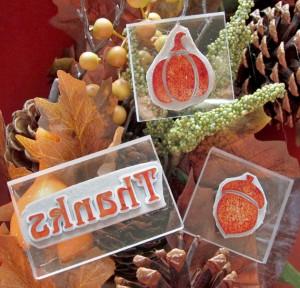 Make Your Own Stamps Autumn Acorn Pumpkin Thanks