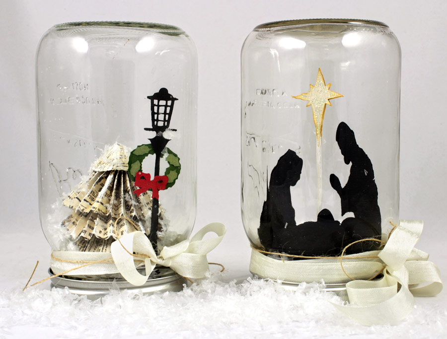 mason jar snow globes christmas tree and nativity scene