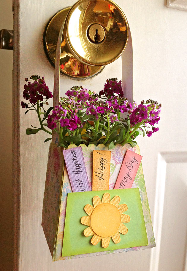 May Day Flower Basket with Paper Handle