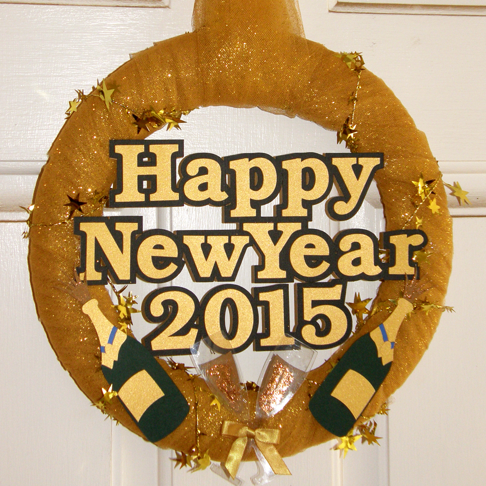 New Years Wreath Door Decoration