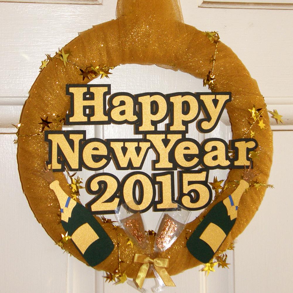 New Years Wreath Door Decoration
