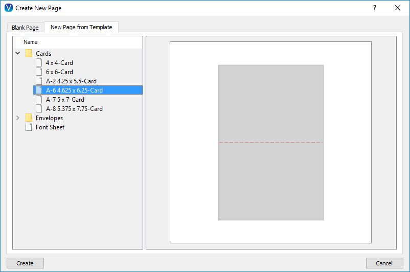 The New Page from Template tab in the New Document Window