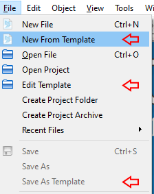 Creating your own templates is simple with the new template menu options