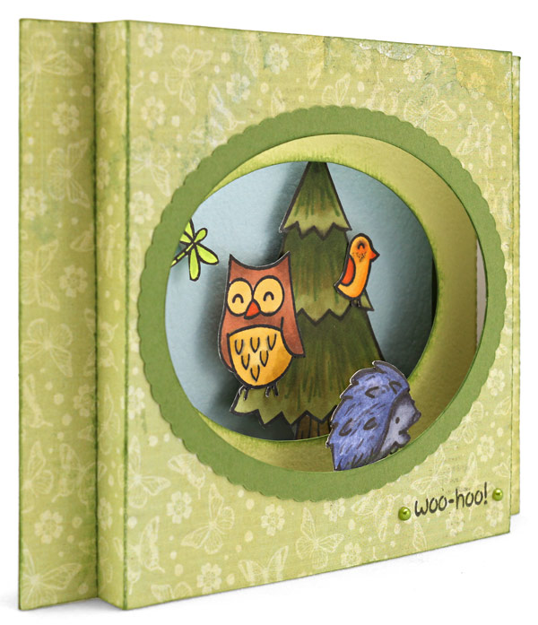 Oval Shadow Box Card Owl Woo-Hoo Angle