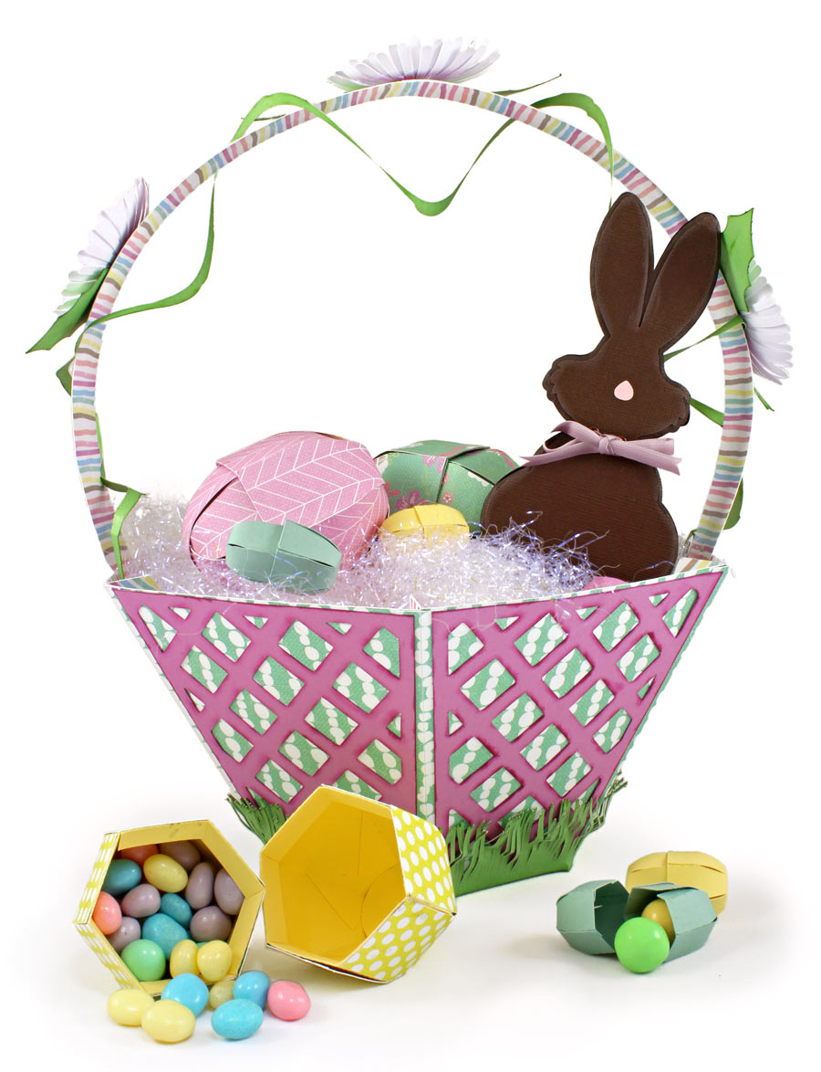 Paper Easter Basket with Eggs, Jellybeans, and Chocolate Bunny