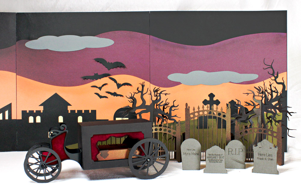 Haunted Villiage with Graveyard, Trees, Headstone, Fence, and Horseless Hearse