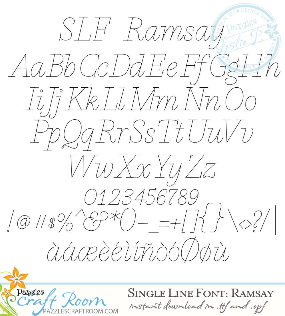 Pazzles Ramsay Single Line Font. True Type font with instant download in .ttf and .opf. Fantastic for journaling and engraving. Design by Leslie Peppers.