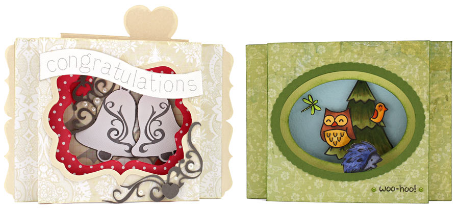 Shadow Box Cards: 'Congratulations' Wedding Card and 'Woo-Hoo' Owl Forest Card