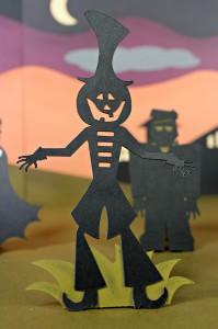 Silhouetted Jack Lantern Pumpkin Head