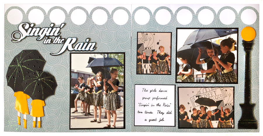 Singing in the Rain Scrapbook Layout