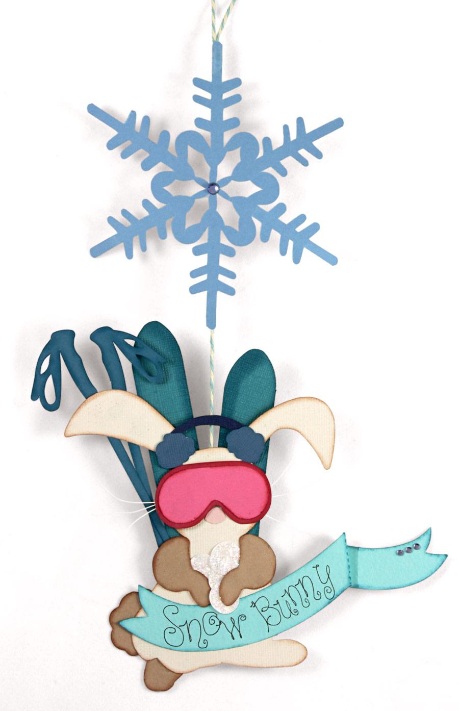 Ski Snow Bunny Hanging Card