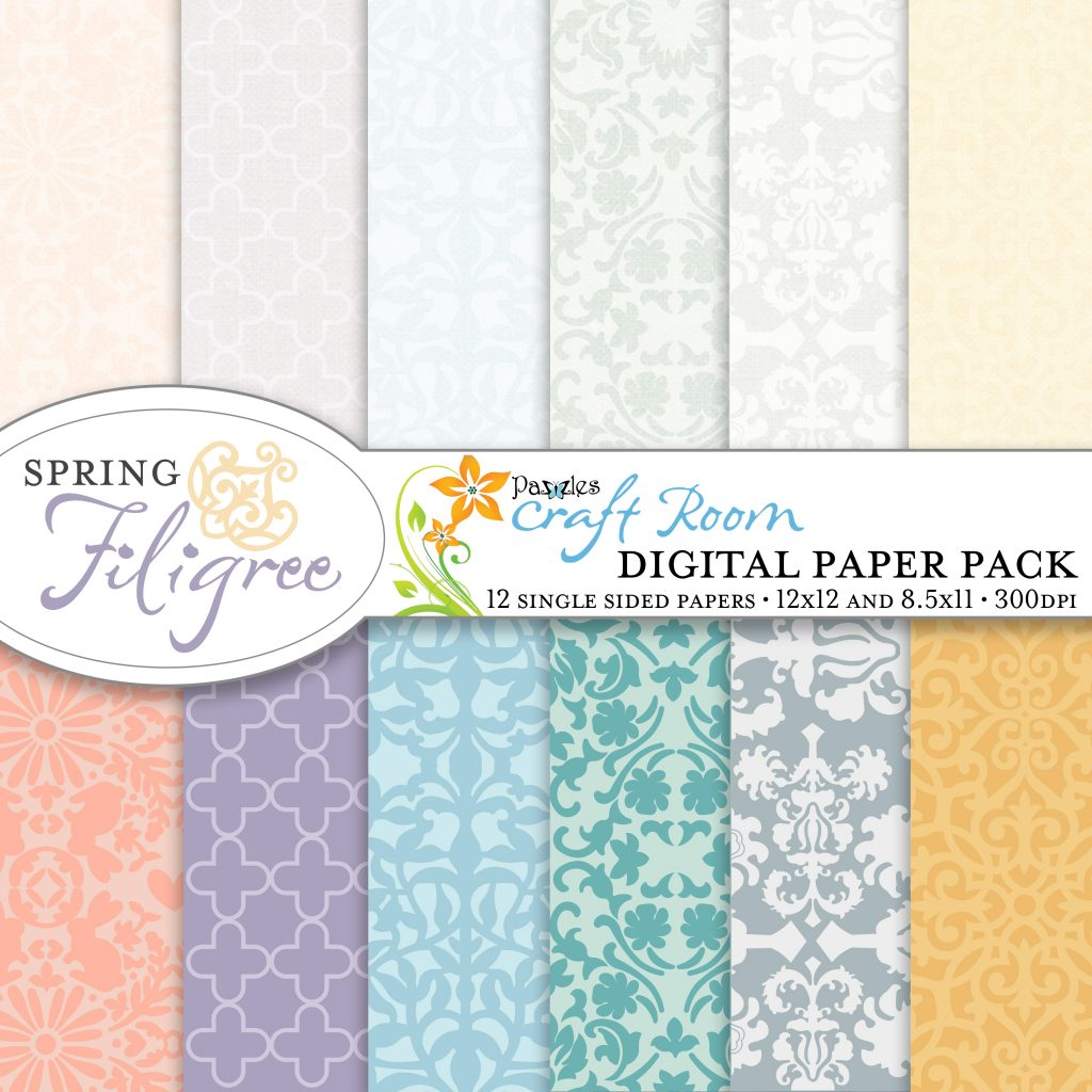 Pazzles DIY Spring Filigree digital paper pack with instant download.