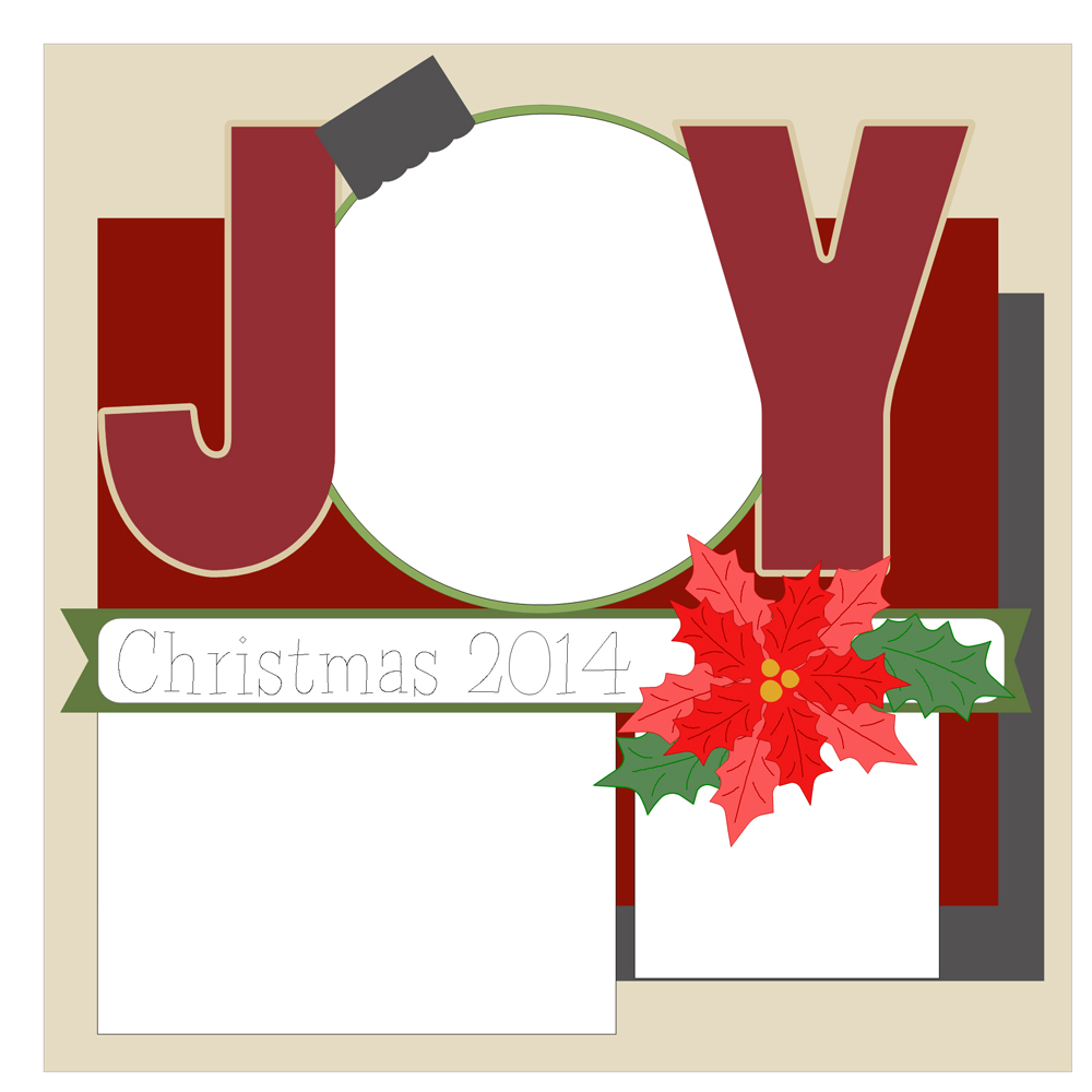Christmas Scrapbook Layout Cutting Files
