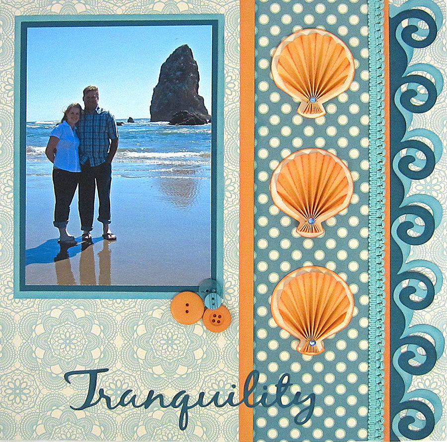Tranquility Seashell Rosette Scrapbook Page