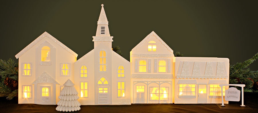 Building Christmas Cardstock Houses