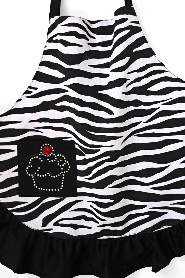 Zebra-Apron-with-Custom-Cupcake-Rhinestone-Design