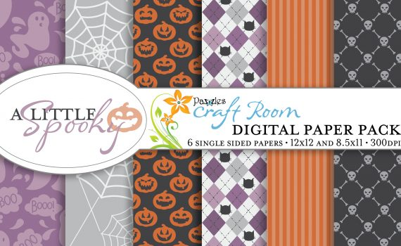 Pazzles DIY A Little Spooky Halloween digital paper with instant download.