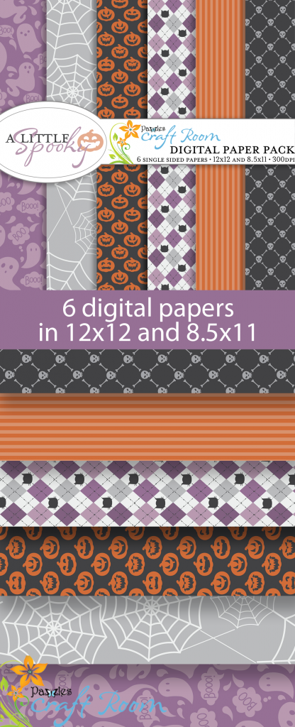 Pazzles DIY A Little Spooky Halloween digital paper pack with instant download.