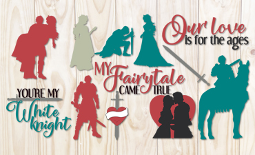 A Princess and Her Knight collection of instant download SVG, AI, or WPC. Compatible with all major electronic cutters including Pazzles Inspiration, Circut, and Silhouette Cameo. Design by Amanda Vander Woude.