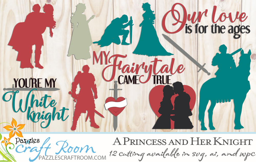 A Princess and Knight svg cutting files collection. Instant download SVG, AI, or WPC. Compatible with all major electronic cutters including Pazzles Inspiration, Circut, and Silhouette Cameo. Design by Amanda Vander Woude.