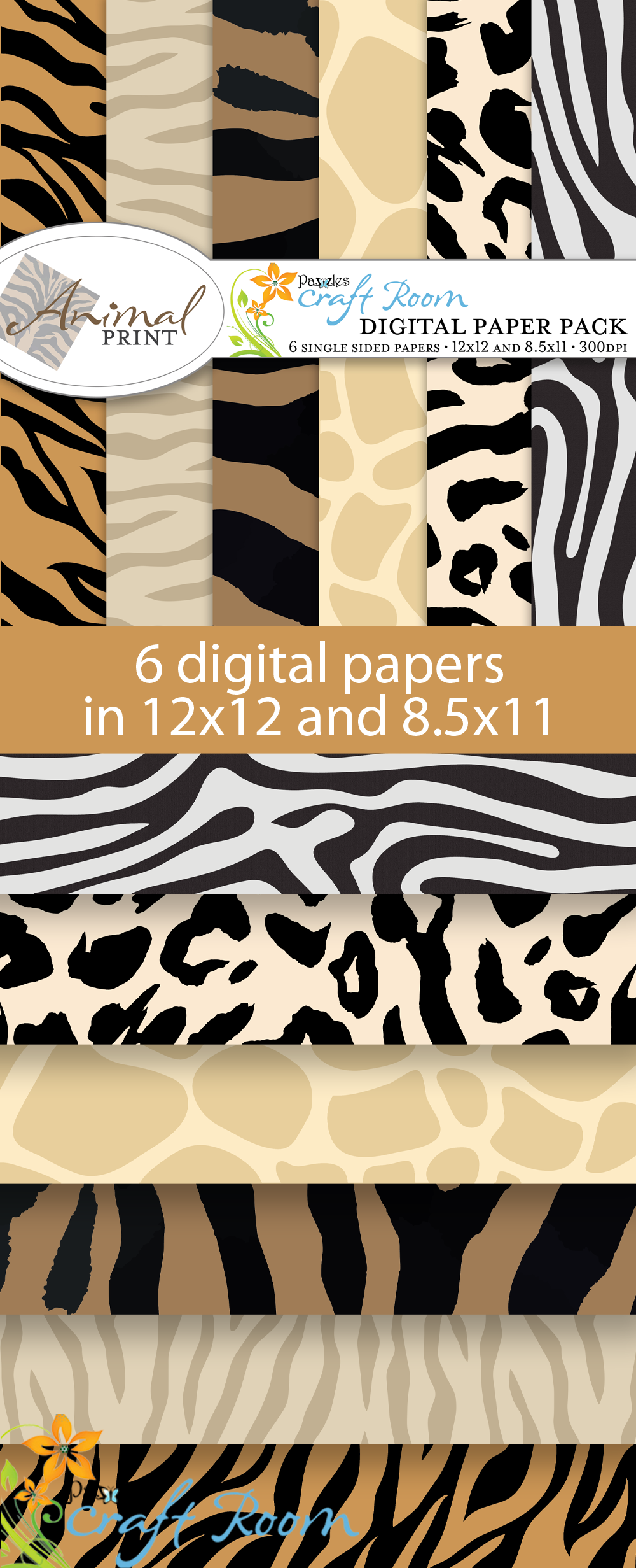 Pazzles Animal Print Digital Paper Pack with instant download.