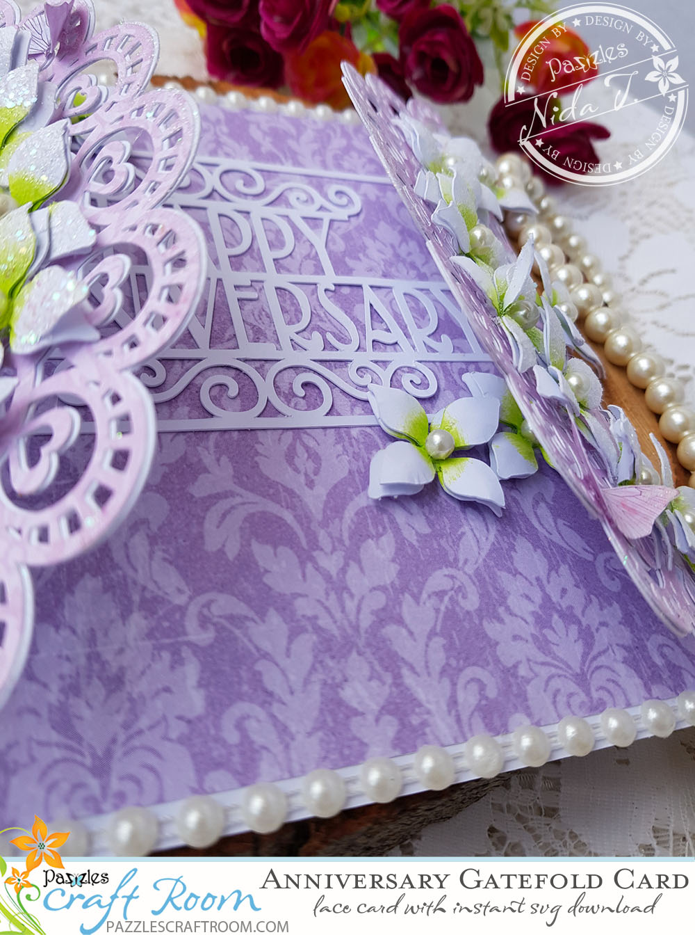 Pazzles DIY Anniversary Lace Gatefold Card by Nida Tanweer