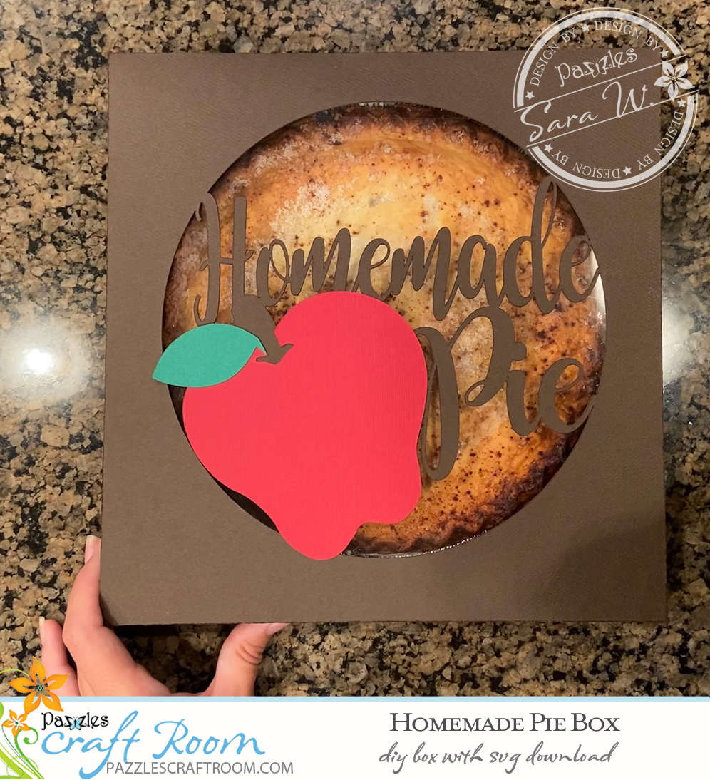 Pazzles DIY Homemade Pie Box with instant SVG download. Compatible with all major electronic cutters including Pazzles Inspiration, Cricut, and Silhouette Cameo. Design by Sara Weber.