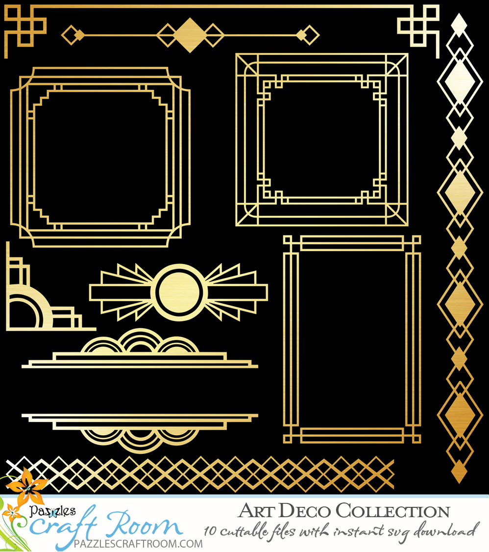 Pazzles 10 SVG Art Deco Collection of Frames, Borders, and Dividers. SVG instant download compatible with all major electronic cutters including Pazzles Inspiration, Cricut, and Silhouette Cameo. Designs by Amanda Vander Woude.