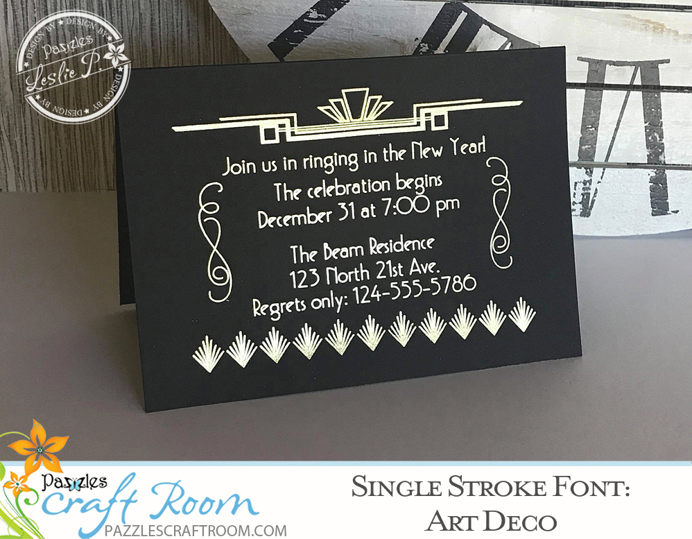Pazzles Art Deco Single Line Font. True Type font with instant download. Fantastic for journaling and engraving. Design by Leslie Peppers.
