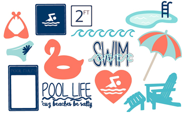 At the Pool cutting collection with instant download in SVG, AI, and WPC.