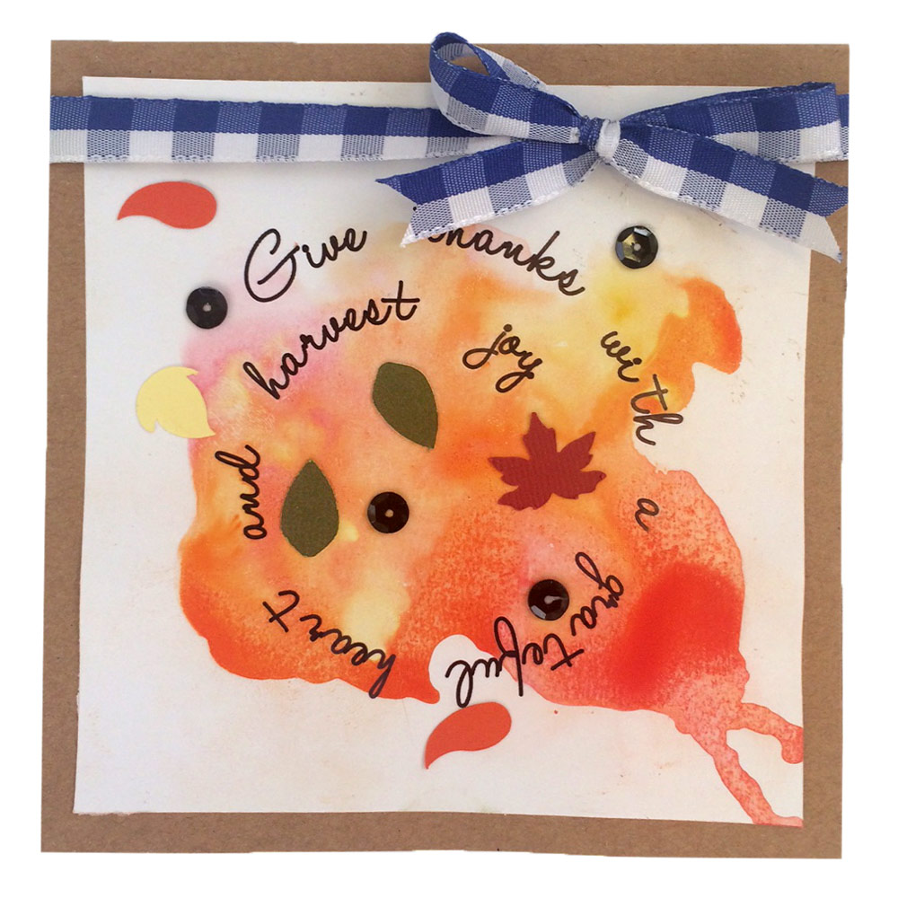 Autumn Leaves Spiral Card with Ink Spot