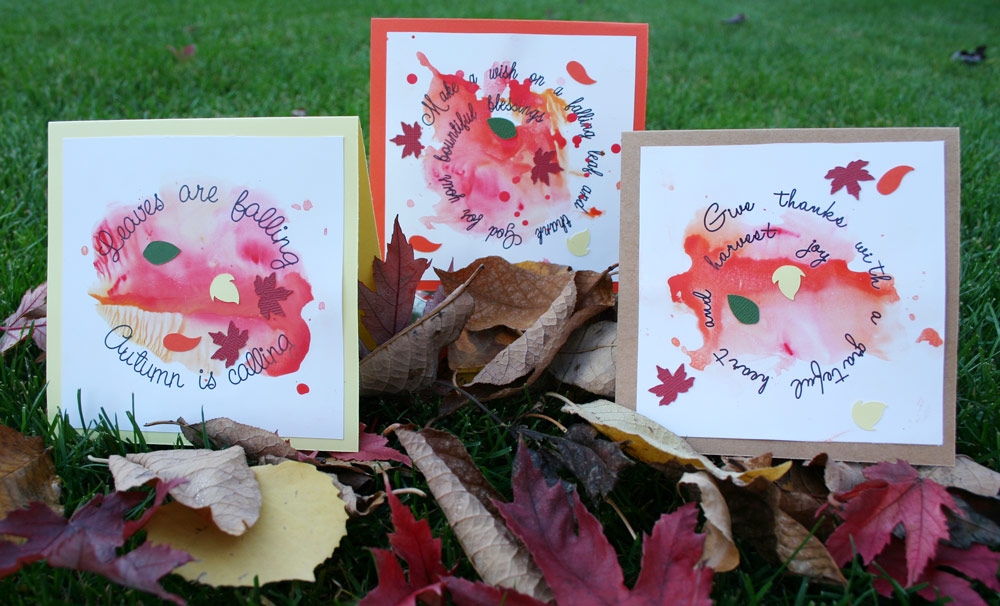 Autumn Leaves Spiral Text Ink Spot Cards