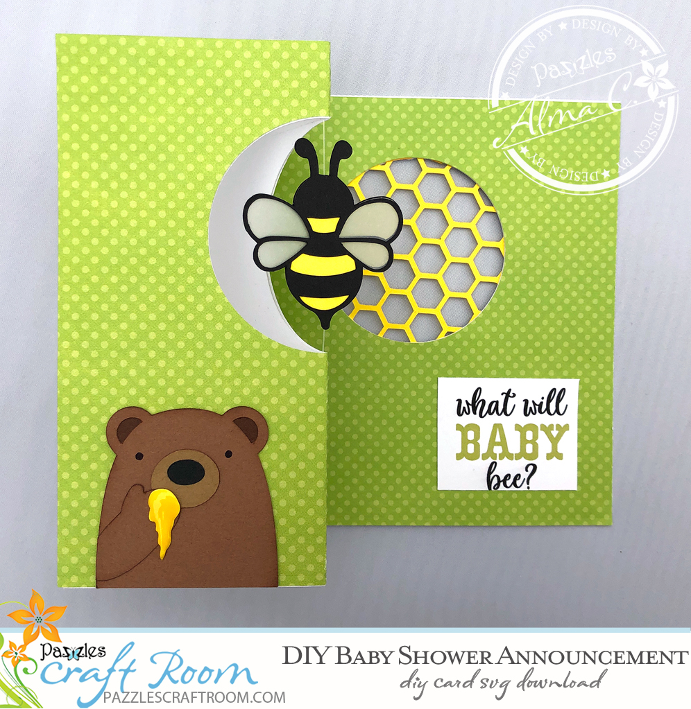 DIY Gender Reveal Party Announcement with instant SVG download. Compatible with all major electronic cutters including Pazzles Inspiration, Cricut, and Silhouette Cameo. Design by Alma Cervantes from SVG Cuttables.