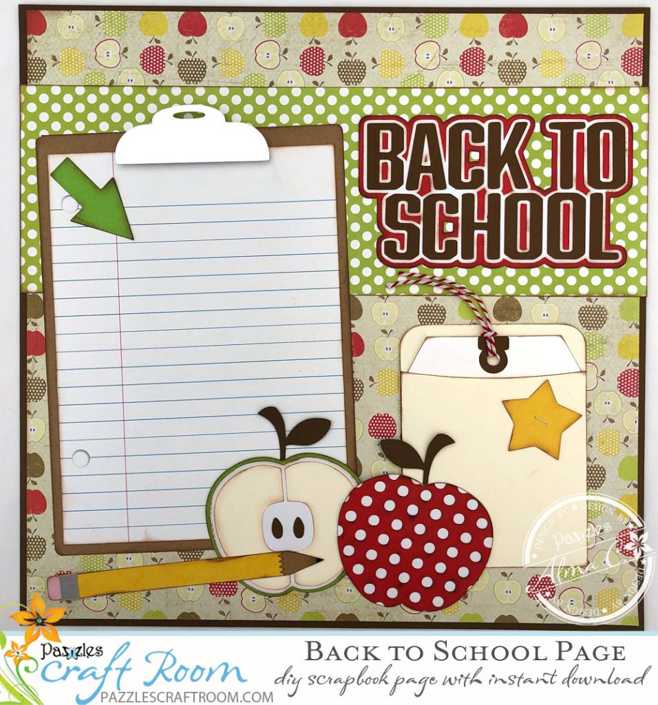 Pazzles DIY Back to School Layout for Scrapbook by Alma Cervantes