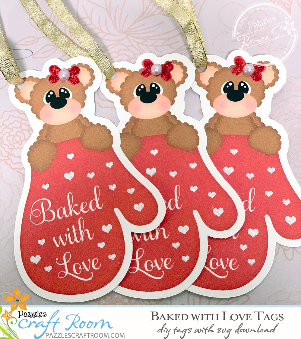 Pazzles DIY Baked with Love Tag with instant SVG download compatible with all major electronic cutters including Pazzles Inspiration, Cricut, Silhouette Cameo. Design by Lisa Reyna.