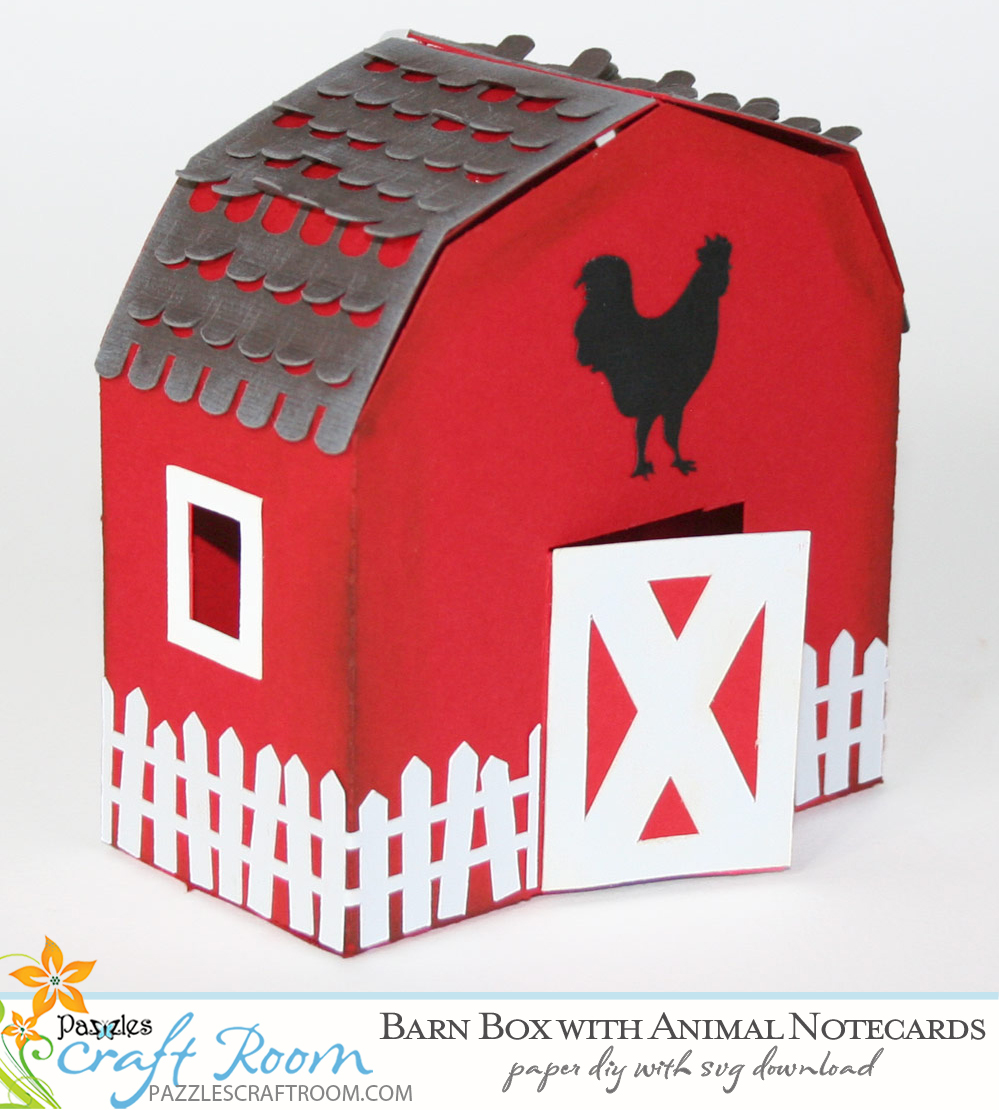 Pazzles DIY Barn Box and Animal Note Cards. Instant SVG download compatible with all major electronic cutters including Pazzles Inspiration, Cricut, and Silhouette Cameo.