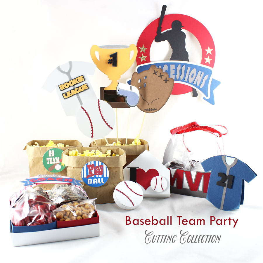 Baseball themed party cutting collection. We've included baseball favors, baseball banners, baseball invitations and more.