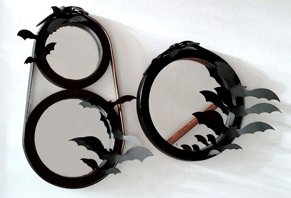 Die cut bats on mirror