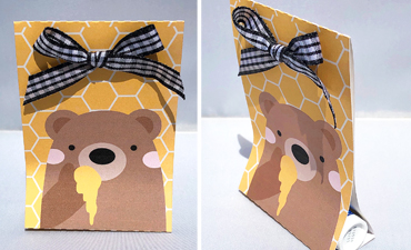 DIY Honey Bear Lip Balm Holder with instant SVG download. Compatible with all major electronic cutters including Pazzles Inspiration, Cricut, and Silhouette Cameo. Design by Alma Cervantes.