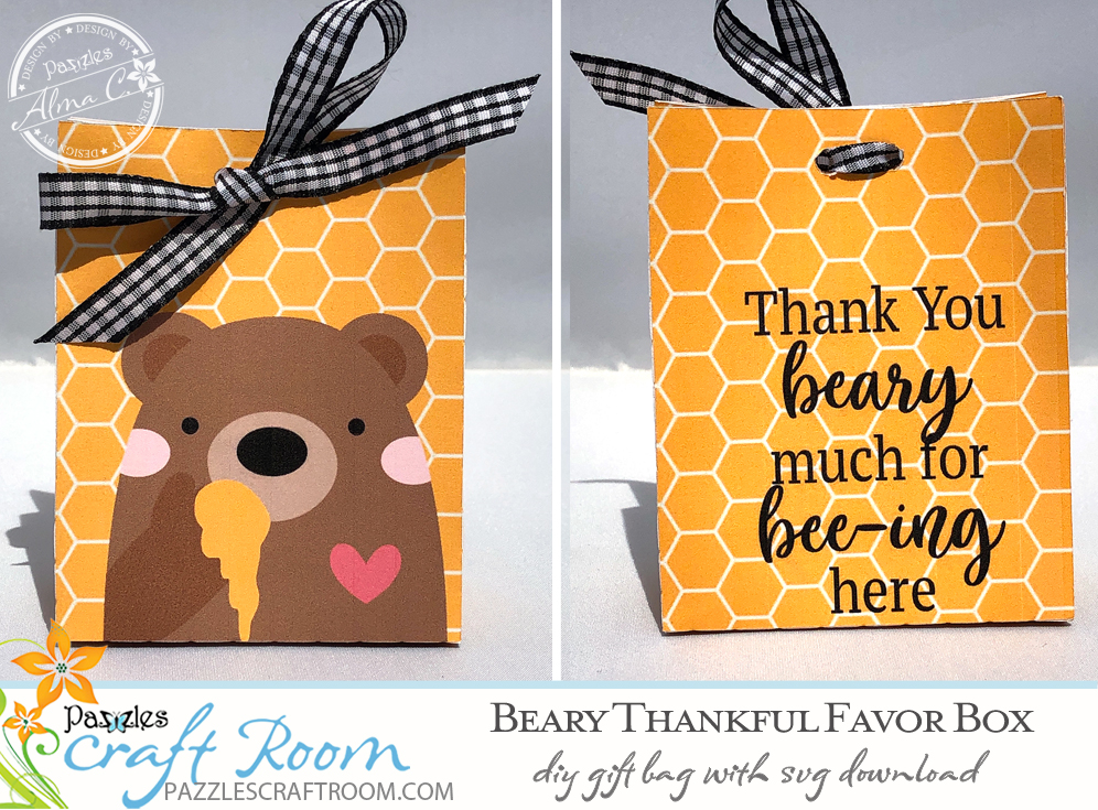 Pazzles DIY Beary Thankful Favor Box with instant SVG download. Compatible with all major electronic cutters including Pazzles Inspiration, Cricut, and Silhouette Cameo. Design by Alma Cervantes.