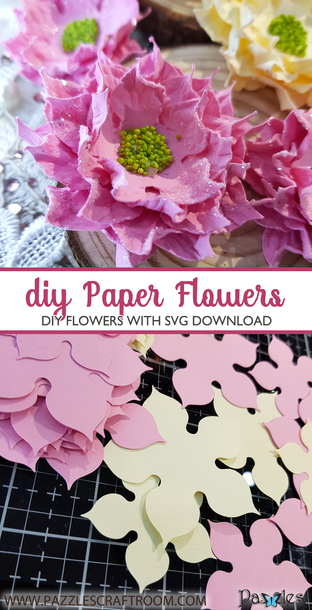 Pazzles DIY Paper Flower Embellishments with instant SVG download. Compatible with all major electronic cutters including Pazzles Inspiration, Cricut, and Silhouette Cameo. Design by Nida Tanweer.