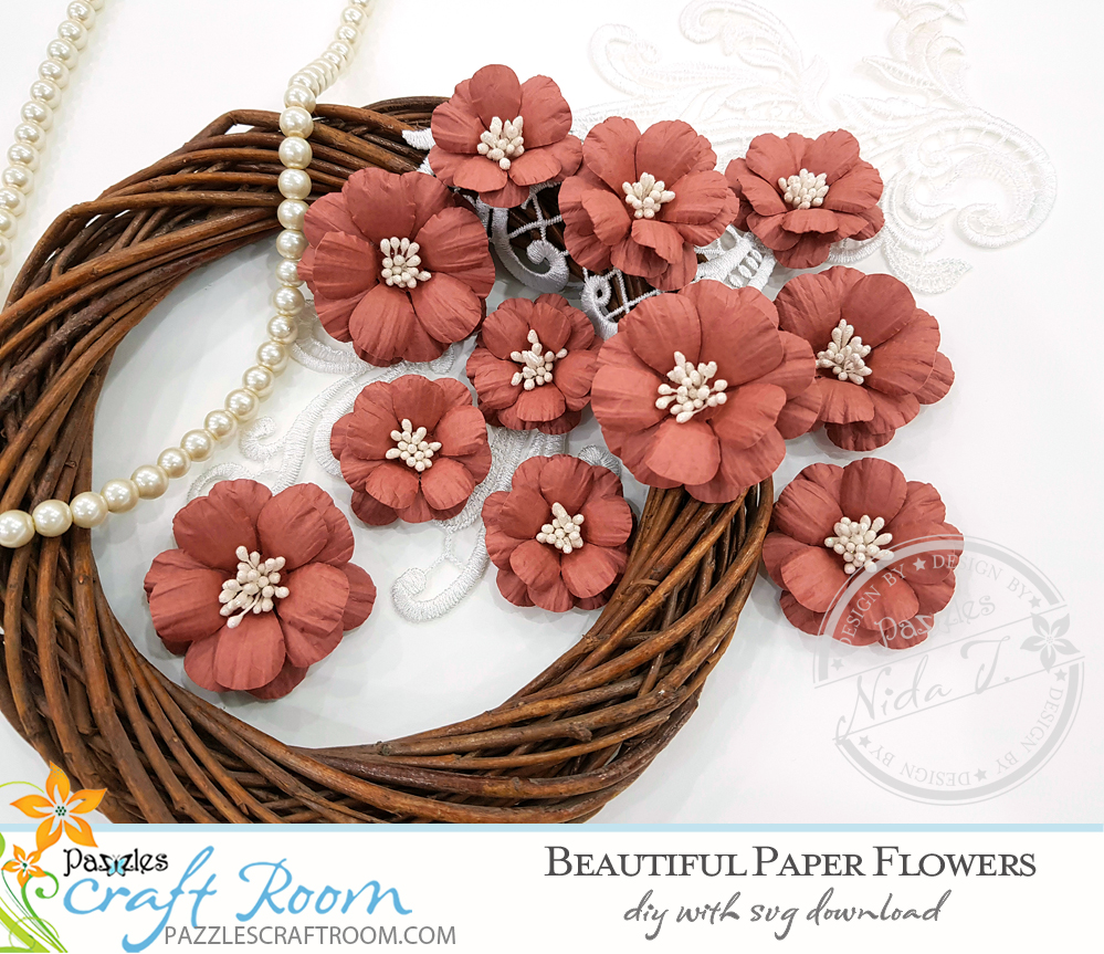 Pazzles DIY Beautiful Paper Flowers with instant SVG download. Instant SVG download compatible with all major electronic cutters including Pazzles Inspiration, Cricut, and Silhouette Cameo. Design by Nida Tanweer.