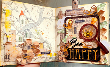 Pazzles DIY Bee Happy Journal or Card Cover. Instant SVG download compatible with all major electronic cutters including Pazzles Inspiration, Cricut, and Silhouette Cameo. Design by Zahraa Darweesh.