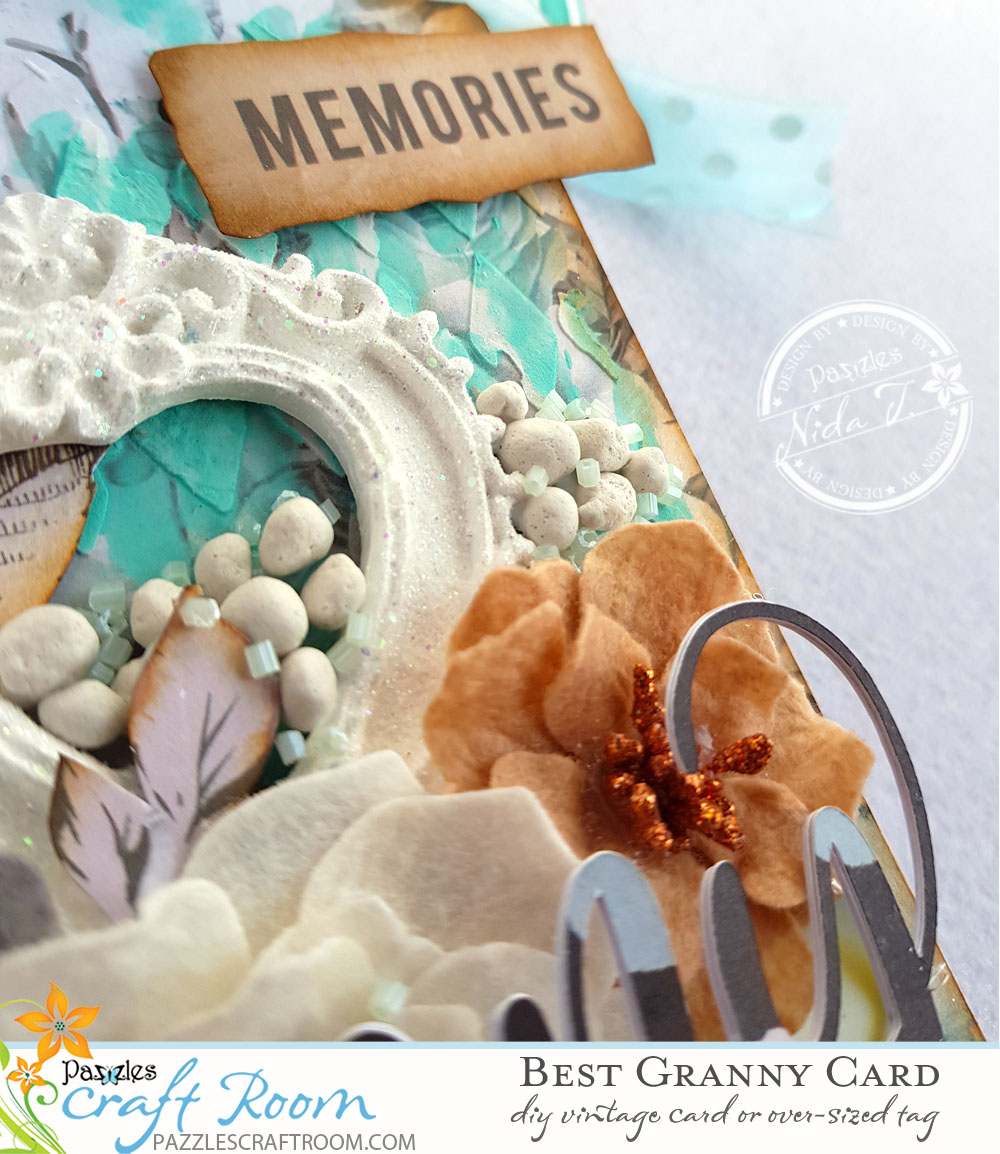 Pazzles DIY Mixed Media Vintage Best Granny Card or Tag by Nida Tanweer