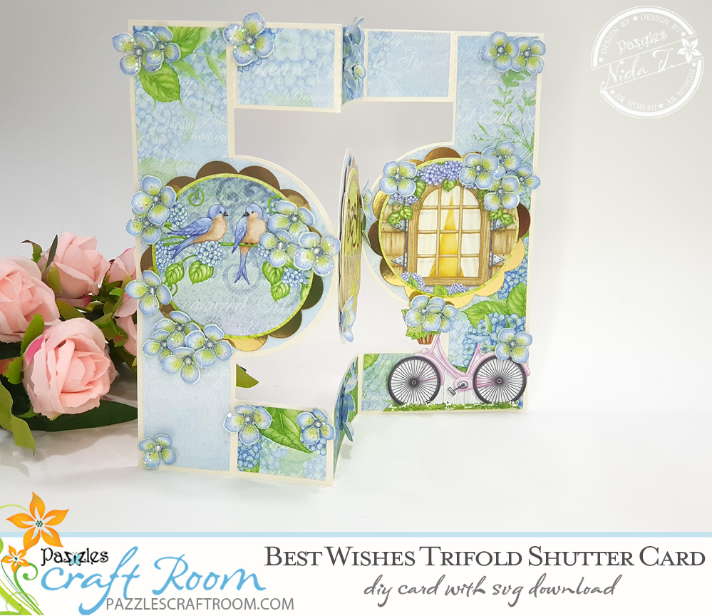 Pazzles DIY Best Wishes Trifold Shutter card with instant SVG download. Instant SVG download compatible with all major electronic cutters including Pazzles Inspiration, Cricut, and Silhouette Cameo. Design by Nida Tanweer.
