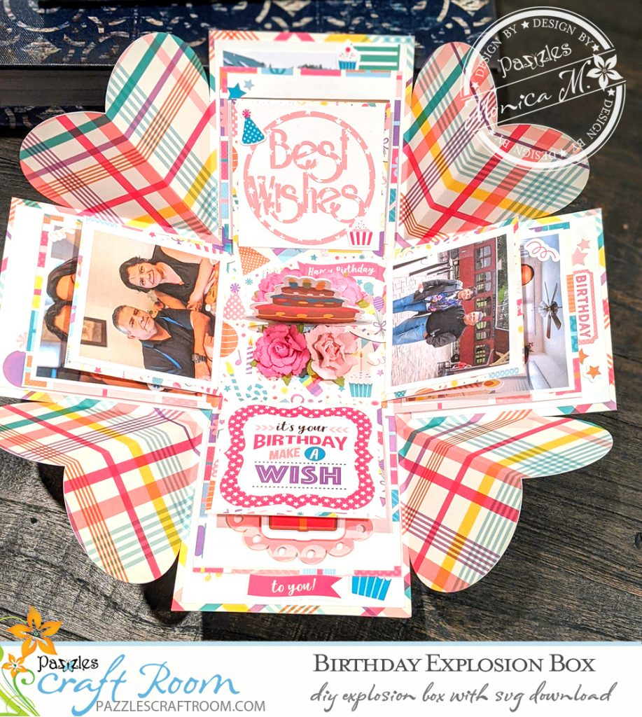 Pazzles DIY Birthday Explosion Box Card with instant SVG download. Compatible with all major electronic cutters including Pazzles Inspiration, Cricut, and Silhouette. Design by Monica Martinez.